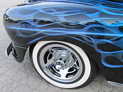 White Walls Framed Prints - Classic Car Blue Flame 4 Framed Print by Anita Burgermeister