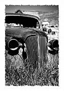 Historic Site Posters - Classic Car Body in Grassy Field Poster by George Oze