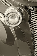 Monochrome Hot Rod Framed Prints - Classic Car Headlight Framed Print by M K  Miller