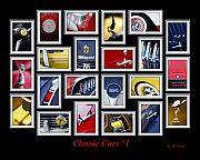 Art For Men Framed Prints - Classic Car Montage Art 1 Framed Print by Jill Reger