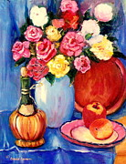 Wine Bottle Paintings - Classic Floral Still Life With Wine Bottle And Roses by Carole Spandau