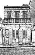 Photocopy Prints - Classic French Quarter Residence New Orleans Black and White Photocopy Digital Art Print by Shawn OBrien