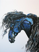 Professional Drawings - classic Friesian by Bj Redmond