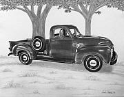 Tires Drawings Posters - Classic GMC Truck Poster by Nicole I Hamilton