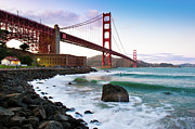 Travel Destinations Tapestries Textiles - Classic Golden Gate Bridge by Photo by Alex Zyuzikov