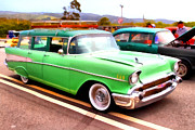 Domestic Car Digital Art - Classic Green Chevrolet Stationwagon . 7D15213 by Wingsdomain Art and Photography