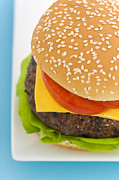 Blue Cheese Prints - Classic Hamburger with cheese tomato and salad Print by Ulrich Schade