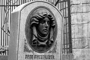 Magic Kingdom Photos - Classic Leota Moving Eyes Headstone Haunted Mansion Magic Kingdom Walt Disney World Prints BandW by Shawn OBrien