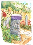 Bougainvilleas Prints - Classic-mail-box-in-Bel-Air-California Print by Carlos G Groppa