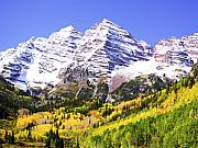 Colorado Mountains Posters - Classic Maroon Bells Poster by Marilyn Hunt
