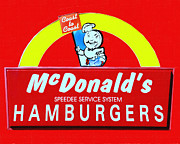 Signage Posters - Classic McDonalds Hamburgers - Billion Served - Painterly Poster by Wingsdomain Art and Photography