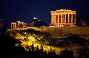 Parthenon Photos - Classic Night View Of The Parthenon by Richard Nowitz