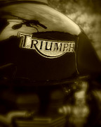 Racer Posters - Classic old Triumph Poster by Perry Webster