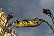 Metropolitain Framed Prints - Classic Paris Metro Sign Framed Print by Kim Wilson