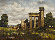 Roman Columns Painting Prints - Classic Ruins Print by James Robert MacMillan