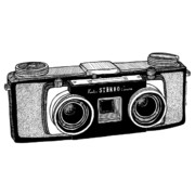 Photography Drawings Framed Prints - Classic Stereo Camera Framed Print by Karl Addison