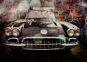 Black Car Framed Prints - Classic Vette Framed Print by Perry Webster