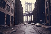 Cobble Stones Posters - Classic View Of The Manhattan Bridge Poster by Everett