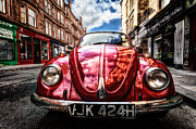 Ultra Wide Angle Lens Posters - Classic VW on a Glasgow Street Poster by John Farnan