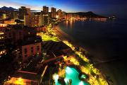 Busy City Photos - Classic Waikiki Nighttime by Tomas del Amo - Printscapes