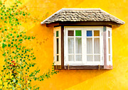 Outlook Photos - Classic white window on yellow wall by Seksan Wasuwat