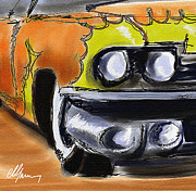 Old Cars Paintings - Classic yellow flame Cadillac by Michael Greenaway