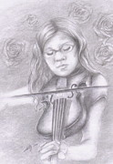 Violin Drawings Prints - Classical Beauty Print by Kathleen Kelly Thompson