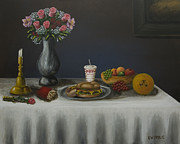 Fries Painting Originals - Classico vita ancora con il pasto americano modern by Kenneth Drylie
