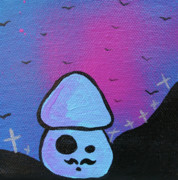 1980s Mixed Media Prints - Classy Zombie Mushroom Print by Jera Sky