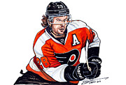 Flyers Drawings Acrylic Prints - Claude Giroux Acrylic Print by Dave Olsen