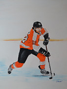 Hockey Pastels Posters - Claude Giroux Philadelphia Flyer Poster by Joanne Grant