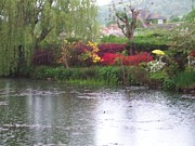 Red Photographs Painting Prints - Claude Monet Garden at Giverny France Print by Chitra Ramanathan