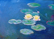 Waterlilies At Giverny Framed Prints - Claude Monet Nympheas 1907 Framed Print by Pg Reproductions