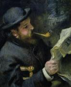 Portraiture Tapestries Textiles - Claude Monet reading a newspaper by Pierre Auguste Renoir