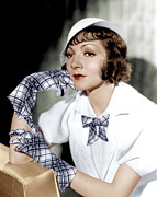 Thin Eyebrows Posters - Claudette Colbert, Ca. 1933 Poster by Everett