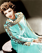 Gold Trim Prints - Claudette Colbert, Ca. 1940s Print by Everett