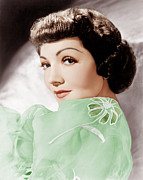 1950s Hairstyles Prints - Claudette Colbert, Ca. 1950 Print by Everett