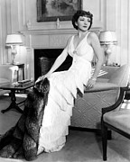 Ruffled Dress Prints - Claudette Colbert In Fringed Gown Print by Everett