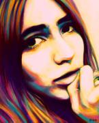 Face Digital Art Prints - Claudia Print by Fay Helfer