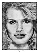 Greyscale Drawings - Claudia Schiffer in 1992 by J McCombie