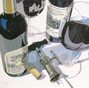 Wine Bottle Paintings - Claudias Cabernet by Christopher Mize