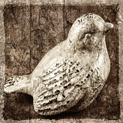 Textured Bird Posters - Clay Bird Poster by Carol Leigh