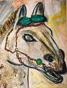 Chinese Horse Mixed Media Posters - Clay horse Poster by JuneFelicia Bennett