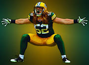 Green Bay Prints - Clay Matthews Print by Herb Paynter