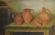 Pitchers Painting Metal Prints - Clay Pitchers and Onion Metal Print by Zoran Markovik