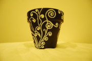 Hand-painted Ceramics Originals - Clay Pot 3 by Srija Charthamkudath