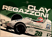 Clay Digital Art Posters - Clay Regazzoni - F1 1979 Poster by Evan DeCiren