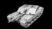 Challenger Model Prints - Clay Render Of A Challenger Ii Tank Print by Rhys Taylor