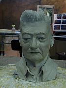 Featured Sculpture Prints - Clay Sculpture of Gerald Simpson Print by Terri  Meyer