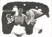 Boxing Drawings - Clay vs Liston 1 by Noe Peralez